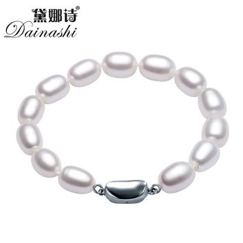 Dainashi  Natural Freshwater Pearl Bracelet 925 sterling silver jewelry  Water Drops buckle pearl charms for jewelry making