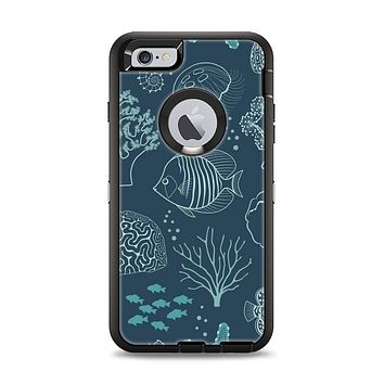 The Dark Teal Sea Creature Icons Apple iPhone 6 Plus Otterbox Defender Case Skin Set