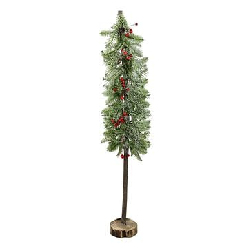 "34"" Glittered Country Rustic Artificial Alpine Christmas Tree with Holly Berries Table Top Decoration"