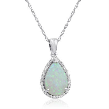 Pear Shape Created Opal and White Sapphire Pendant-Necklace in Sterling Silver