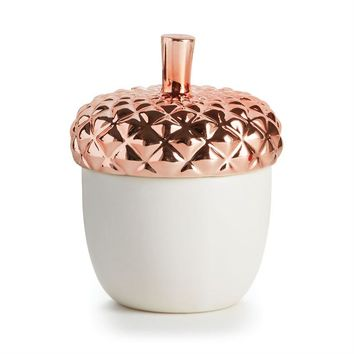 Copper Leaves Ceramic Candle