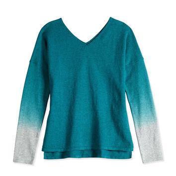 Girls' Dip-Dye V-Neck Sweater, Teal, Sizes 4-6X,