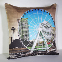 Decorative Pillow Cover, Free USA Shipping, Photo Design, Seattle Skyline Great Ferris Wheel Space Needle, City Scene, Organic Cotton