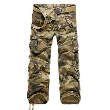 Men's Multi-Pocket Casual Camouflage Pants Men Military Cargo Trousers Loose Pants