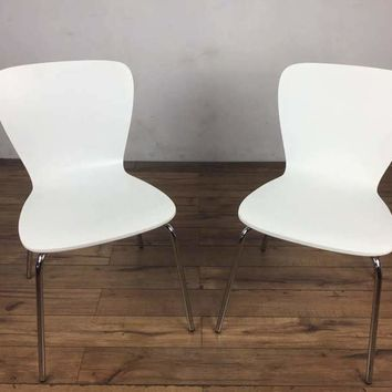 Pair of White Mid-Century Modern Style Side Chairs