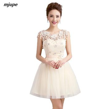 New short prom dresses cheap hollow out bandage back tulle elegant pink red champagne princess ball gown prom dresses