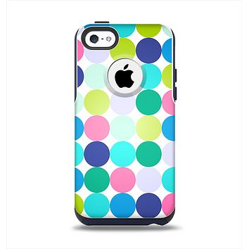 The Vibrant Colored Polka Dot V2 Apple iPhone 5c Otterbox Commuter Case Skin Set