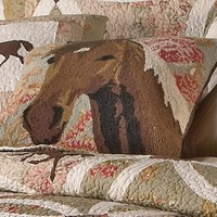 Western Wedding Horse Hooked Pillow