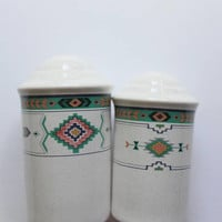 Vintage Studio Nova Stoneware Adirondack - Aztec - Pattern Salt and Pepper Shaker Set 1980s