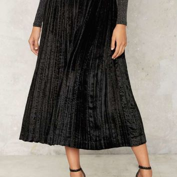 Vintage Yves Saint Laurent Pleated Velvet Skirt