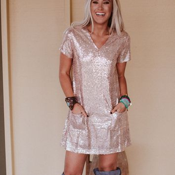 Crystals And Gems Short Sleeve Sequin Dress - Sequin Blush