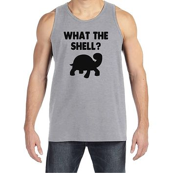 Men's Funny Shirt - What the Shell? - Funny Mens Shirts - Turtle Shirt - Grey Tank Top - Gift for Him - Funny Gift Idea for Boyfriend