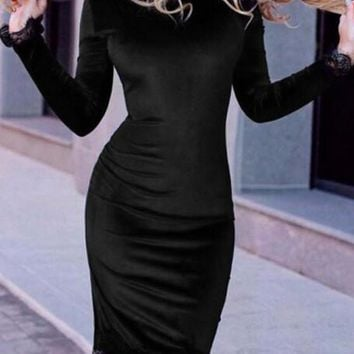 Black Patchwork Lace Round Neck Long Sleeve Fashion Midi Dress