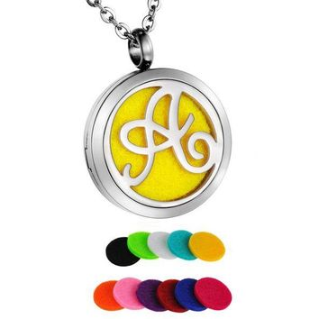 Monogram Locket Aromatherapy Diffuser Pendant Necklace Jewelry