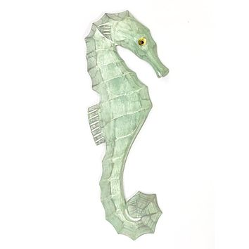 Hand Carved Wood Seahorse Aqua Wall Art - 14-1/2-in