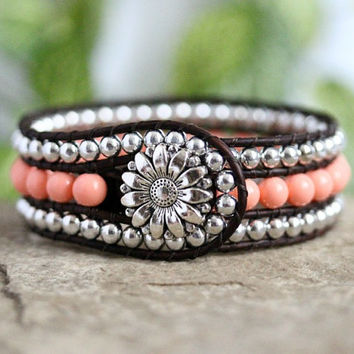 Pink Pearl Beaded Leather Cuff, 3 Row, Silver, Daisy, Country Charm, Bohemian jewelry, Fashion Bracelet, Leather Jewelry