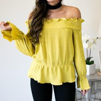 Mustard Seed Off The Shoulder Ruffle Top