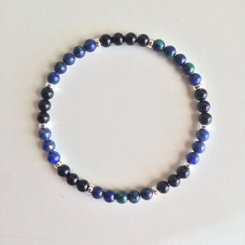 Genuine Azurite Malachite, Lapis & Black Onyx Bracelet w/ Sterling Silver Accents ~ 4mm Stones ~ Relieving Stress and Worries