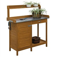 Outdoor Home Garden Potting Bench with Metal Table Top & Storage Cabinet