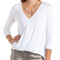 Oversized High-Low Draped Wrap Top by Charlotte Russe