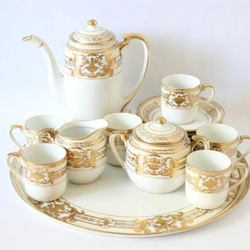 1920s Noritake M Handpainted Demitasse Set Made in Japan No. 37532