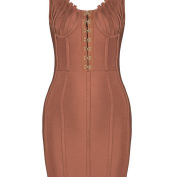 Honey Couture TYRA Bronze Front Detail Low Back Mini Bandage Dress