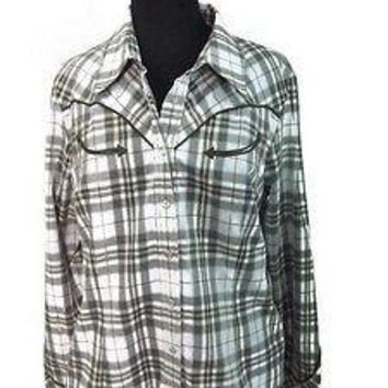 new ALLEN B Olive Sage Cream Black womens WESTERN wear Shirt Top Size XL