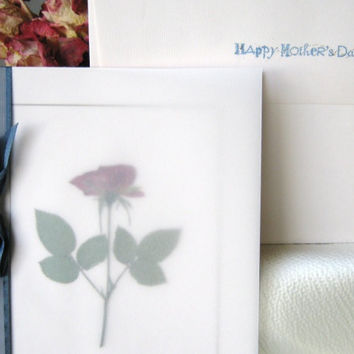 Mothers Day Card,  A Rose with Stamped Message Inside to Wish Mom a Happy Day
