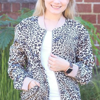 Lighweight Bubble Crepe Leopard Jacket - Medium