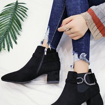 Black Faux Suede Pointed Toe Ankle Boots