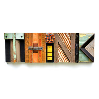 typography THINK wood collage modern vintage sign letters  ORIGINAL ART by Elizabeth Rosen
