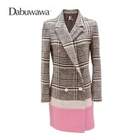 Dabuwawa Black White Plaid Women Winter Woolen Coat Elegant Warm Casual Outwear