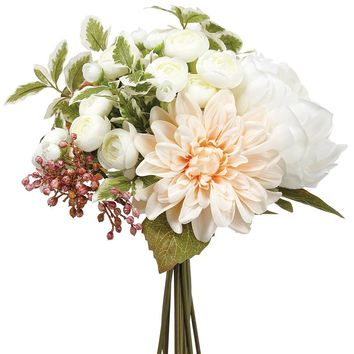 Silk Peony and Dahlia Bouquet in Pink White