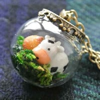 10% SALE Necklace Kawaii Terrarium Moo Cow and Grass Glass Bead Orb