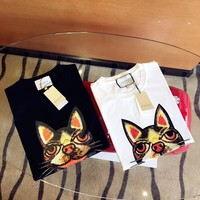 """Gucci"" Women All-match Fashion Puppy Head Pattern Print Short Sleeve Casual T-shirt Top Tee"