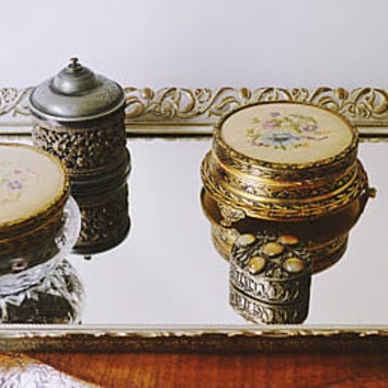 Mirrored Vanity Set, Vintage Dressing Set, Mirrored Tray, Petit Point Powder Jars, Antique Pill Box, Simpson Hall Miller Jar