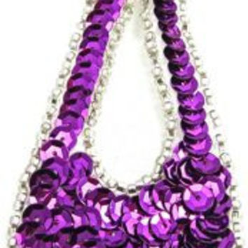 """Design Motif Large Teardrop with Purple Sequins and Silver Beads 1.5"""" x 4"""""""