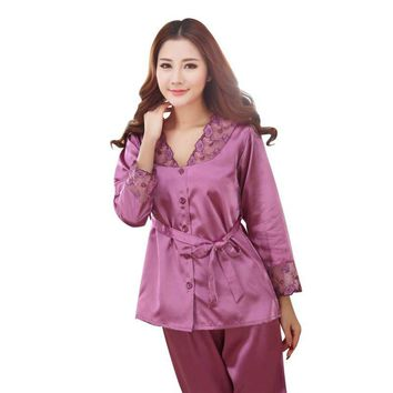 Spring Summer Autumn Women Silk Pajamas Sets Lady Nightdress Female Home Clothes
