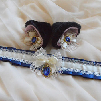 Kitten play collar and clip on ears - Midnight princess set - ddlg little adult cute kawaii choker and accessories - neko girl cosplay black