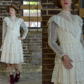 Vintage 70's Ivory Tiered Lace Candi Jones Country Western Style Bohemian Prairie Dress