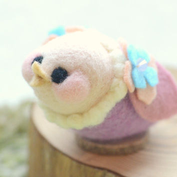 Handmade soft sculpture bird doll / figurine / home decor, needle felted bird, Sunny birdie collection - purple & pink color