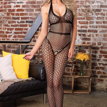 Crochet Net Halter Bodystocking in OS