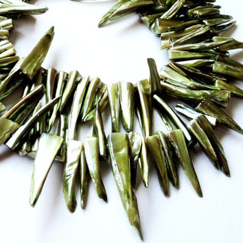 Green Mother of Pearl Shell Stick Spikes Beads Top Drilled 45x7mm-21x4mm Whole Strand