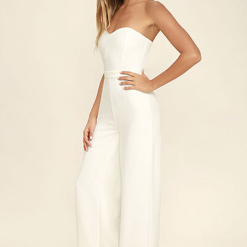 Pop Life White Strapless Jumpsuit