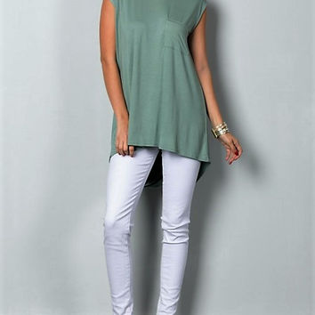 TWISTED OPEN BACK SLEEVELESS TUNIC