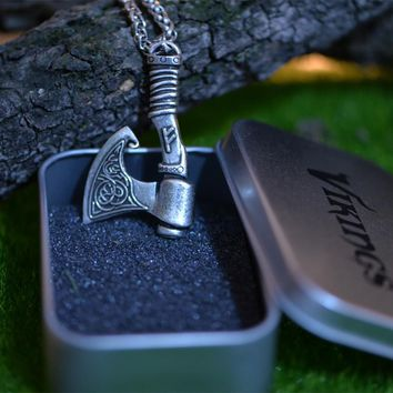 1pcs Langhong Nordic Vikings Necklace The Fehu Feoh Fe Rune Axe Amulet pendant Necklace Norse Jewelry Talisman