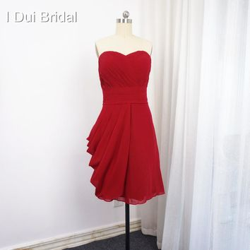 Knee Length Bridesmaid Dress Sweetheart A line Chiffon Empire Wedding Formal Dress Custom Make JKS001