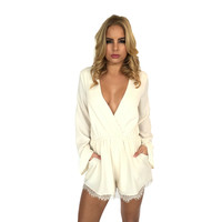 Feel the Love Romper In Cream