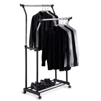 Double Adjustable Garment Rack Shoe Clothing Jacket Coat Hanger Space On Wheels