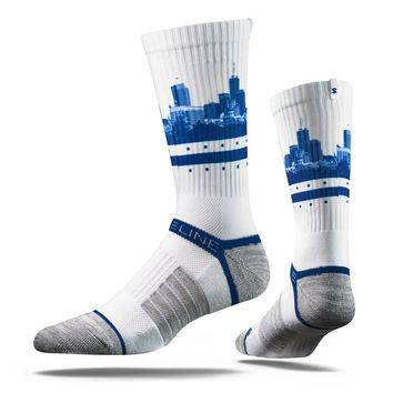 Strideline 2.0 White Dot City Indianapolis Colts White Blue Crew Socks NEW